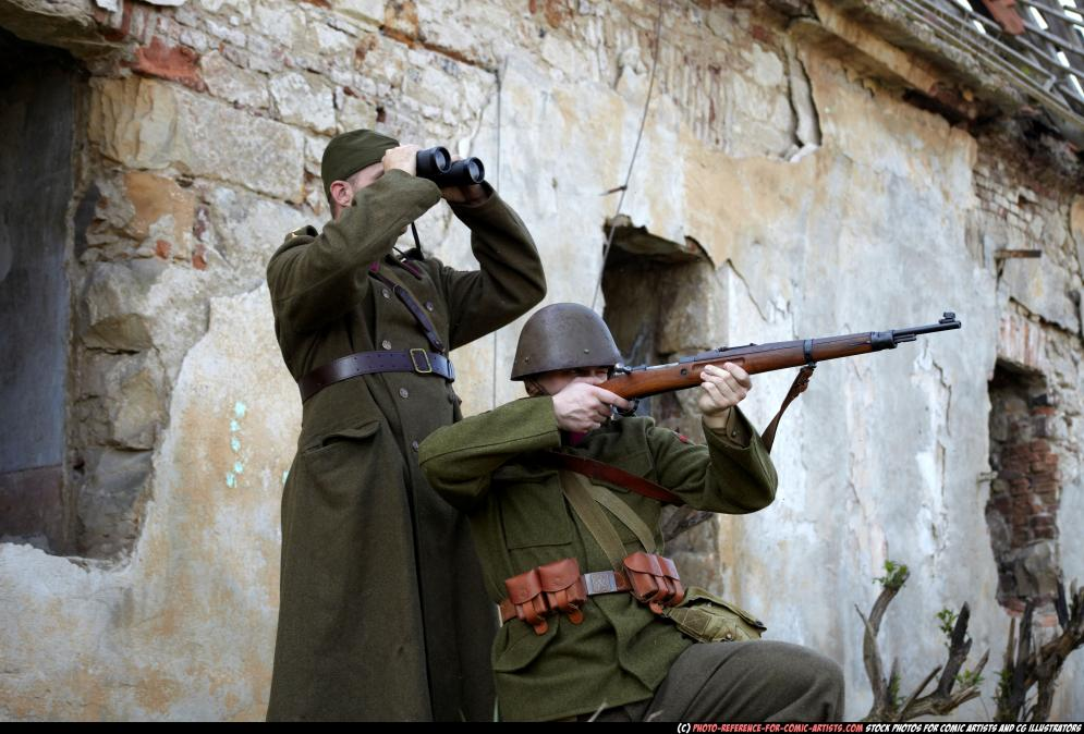 Image from Photo-reference-for-comic-artists.com - 101022010_03_ww1_unit_observing_aiming_04.jpg
