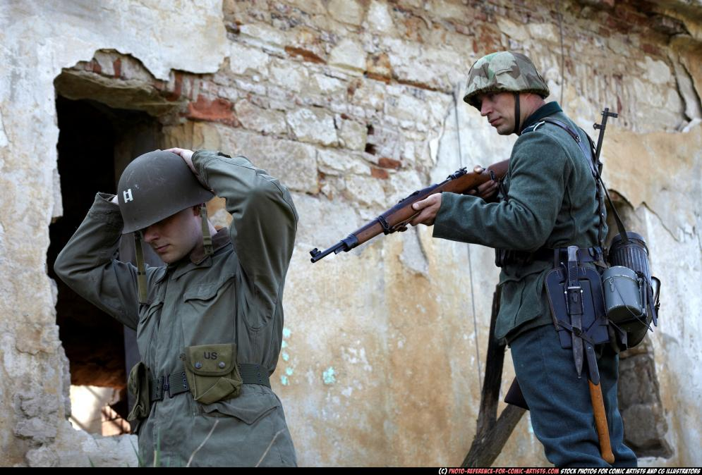 Image from Cold-blooded Execution - 102262010_03_ww2_infantry_guarding_surrendered_prisoner_14.jpg